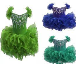 Wholesale Orange Toddler Skirt - Wholesale New 2017 Baby Girls Glitz Pageant Cupcake Gowns Infant Beaded Mini Short Skirts Toddler Girls Knee Length Pageant Dresses