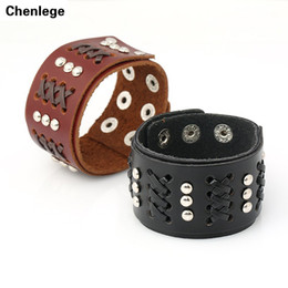 Wholesale Leather Celtic Studs - Wholesale- braided genuine leather bracelets fashion men's jewelry free shipping 2016 new design rivet stud leather bracelets cool design