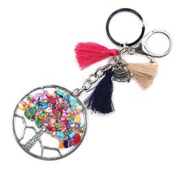 Wholesale Ring Holder Tree - Hot Tree Of Life Fashion Casual women Owl Key Holder Pendant Stone Keychain Retro Jewelry Key rings