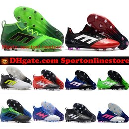 Wholesale Cheap Soccer Shoes Messi - Cheap ACE 17.1 FG leather soccer cleats for men soccer shoes 2017 Orginal ACE football boots primeknit messi shoes blackout Mens new arrival