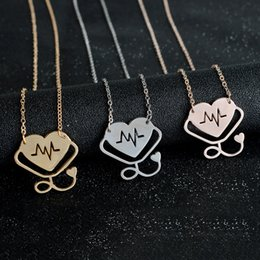 Wholesale Stethoscope Wholesale - New Heartbeat Stethoscope Pendant Necklace Silver Rose Gold Plated Heart Love Pendants Chains Fashion Jewelry Gif for Women Men