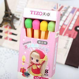 Wholesale Erase Rubber - Wholesale-8 Pcs   Pack Cute Korean Rubber Stationery Stationary Match Pencil Eraser Erase