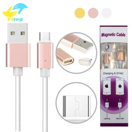 Wholesale Packaging Cord - 2017 New Arrival Metal Magnetic Micro USB Cable Data Sync Charging Charger Cord Cables For i6 Android Smartphone With Retail Package