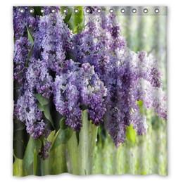 "Cortinas moradas de flores online-Custom Pretty Lila Purple Flowers cortina de ducha 66 ""x 72"" pulgadas Home Decor baño cortina de ducha"
