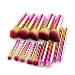 Set di pennelli di trucco di buona qualità online-10sets 10pcs / set Spazzole di trucco di buona qualità Fondazione Blending Blush Make up Brush Cosmetici Kit di strumenti di bellezza Set