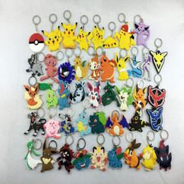 Wholesale Pokemon Key - PVC Pocket Monster keychain Poke Silicone Pendant Pikachu Poke Ball Keychain Double Sided Design Key Chain Kids Gifts