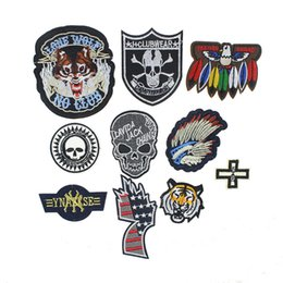 Wholesale Skull Iron Embroidered Patch - New Arrival Punk Skull Application Sew Iron On Patch For Clothing Embroidered Stripes On Clothes Parches For Sticker Clothes
