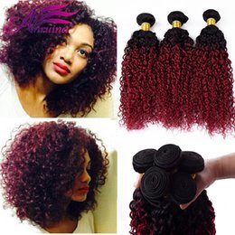 Wholesale Curly Hair Two Tone Color - Grade 8A Ombre Malaysian Kinky Curly Hair Virgin Human Extensions Two Tone 1B BG Burgundy Red Remy Hair Wave Weft Bundles