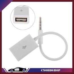 Wholesale Audi Usb Aux - Wholesale- 3.5mm Male AUX Audio Plug Jack To USB 2.0 Female Converter Car Adapter Cable mp3