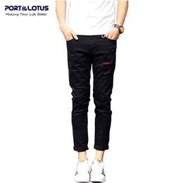 Wholesale Fly Port - Wholesale-Port&Lotus Fashion Casual Jeans Ankle-Length Pants With Zipper Fly Solid Color Pencil Pants Slim Fit Men Jeans 020 wholesale