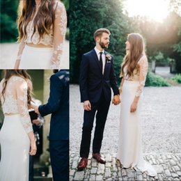 Wholesale sheath fitted wedding dresses - 2018 Two Pieces Lace Wedding Dresses Long Illusion Sleeves Sheer Jewel Neck Sheath Illusion Back Fitted Brides Gown Custom Made