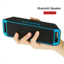 Wholesale Bluetooth Usb Card - SC-208 Bluetooth Music Wireless Speakers A2DP Stereo Megabass Speaker Handsfree TF Card AUX 3.5mm Subwoofer MP3 Player With Retail Package