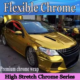 Wholesale Chrome Vinyl For Car Wraps - Best GOLD Chrome Vinyl Wrap With Air bubble Free flexible stretchable Mirror Chrome For Car Wrapping styling Foil :1.52x20m Roll 5x66ft