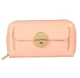 Wholesale Wallet Badges - Pink Black purse medium pouch sleek Women travel purse Clutch wallet golden color metal badge Soft PU leather ladies bag