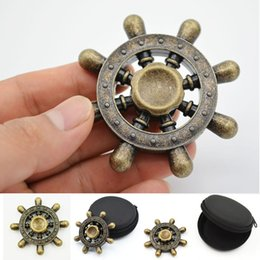 Wholesale Toy Boat Wholesale - Octagonal Fidget Spinner Boat Rudder Hand Spinner Metal Copper Fingers gyro toys Wheel Design Rotation Toy Decompression EDC Hand Novelty g