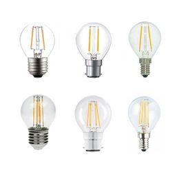 Wholesale Led Candelabra Bulb E27 - LED Bulb,E14 E27 B22 Ses Candelabra Base 2 4 6W G45 Dimmable COB LED Filament Flame Tip Vintage Globe Bulb