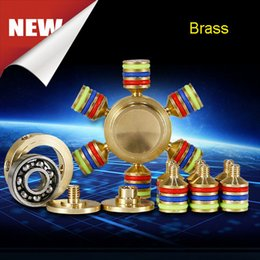 Wholesale 15 Speeds - Stocking Fingertips Spiral Fingers Hand Spinner Acrylic Brass Cooper Metal Fidgets Cube 3 Minutes High Speed Free