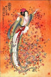 Wholesale Female Figure Abstracted - Framed nice Chinese classic female portrait Dunhuang fairy butt,100% Handcrafts Art Oil painting Canvas,Multi sizes Available DH078