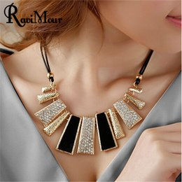 Wholesale String For Women Accessories - Collier Femme New Fashion Necklaces & Pendants PU Leather Rope Geometric Statement Choker for Women Mujer Accessories Jewelry