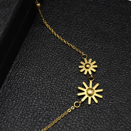 Wholesale Wholesale Snowflake Charms Free Shipping - Charm Double Snowflake Flower Gold Silver Rose Plated Stainless Steel Pendant Necklace For Women Free Shipping