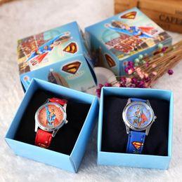 Wholesale Wholesale Superman Watch - Free Shipping 12 Pcs Cartoon Super hero Superman Kids Girls Boys Children Students Quartz Wrist Watch Very Popular have gift box