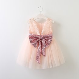 Wholesale Childrens Wedding - Babies Lace Sequins bow Dresses Girl Princess tulle Dress Baby Girl Sleeveless wedding Party Dress 2017 Childrens Summer clothing
