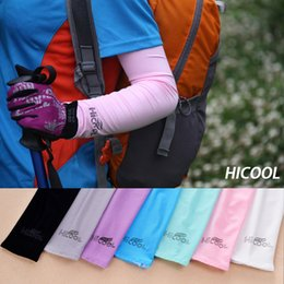 Wholesale uv arm protectors - 7 Colors Hicool Cool Golf Arm Sleeve Sun Protection UV Protector Summer Sports Cycling Arm Sleeve Arm Warmers with retail pack