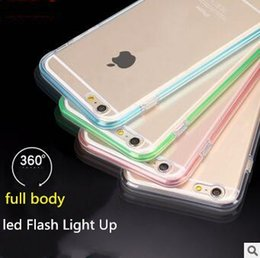 Wholesale Wholesale Led Crystal Frames - LED Flash Light Up Case air bag Crystal Frame Shockproof Clear Soft TPU full body Cover for iphone 7 6 6S plus Samsung galaxy S7 edge DHL