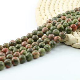 Wholesale Green Chinese Stones - Semi Precious Green Chinese Unakite Round Beads 4 6 8 10mm For Jewelry Making 15 inch Strand Per Set L0109#