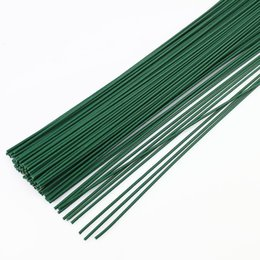 Wholesale Dried Stems - 50pcs 2mm 40cm Dark Green wire artificial silk flowers stem DIY Handmade Decorative Wreath Flower Branches Florist Crafts