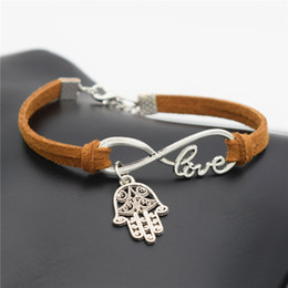 Wholesale Leather Word Bracelets - Wholesale- Fashion Summer Classic Design Silver Hamsa Symbol Fatima Hand Charms Love Words Infinity Bracelet Leather Gift Jewelry Accessory