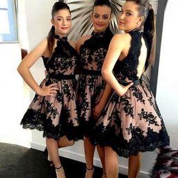 Wholesale Nek Dresses - 2017 New High Nek Black Lace Bridesmaid Dresses Open Back Short Lace Bridesmaid Dress A Line Knee Length Prom Dresses Wedding Party Gowns