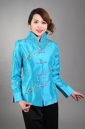 Wholesale Chinese Silk Jackets Women - Wholesale- New Arrival Light Blue Chinese Women's Silk Satin Jacket Embroidery Coat Flowers Size S M L XL XXL XXXL Free Shipping