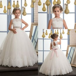 Wholesale Solid Light Blue Ball Gown - 2017 New Flower Girls Pageant Dresses Ivory Lace Up Sleeveless O-Neck Ball Gown Holy Communion Dresses Hot Vestidos De Comunion