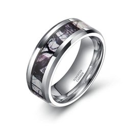 Wholesale Tungsten Wedding Bands For Men - 8mm Tungsten Winter Branch Camouflage Inlay Hunting Ring Wedding Band for Men Women