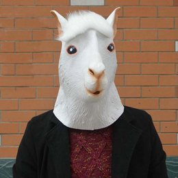Wholesale Free Role Playing - Alpaca mask horse face funny animal head latex mask party role play mask Halloween costume free shipping