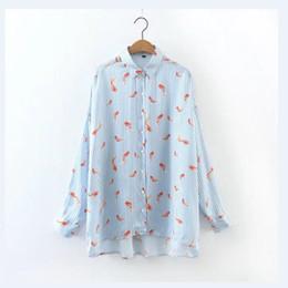 Wholesale Women Striped Button Down Shirt - 2017 women elegant Little goldfish printed shirt blouse work wear turn down collar striped loose casual tops brand blusas LS1071
