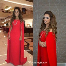 Wholesale Long Chiffon Cape - Sexy Red With Cape Evening Dress Simple Sweep Train Long Formal Special Occasion Dress Party Gown Custom Made Plus Size