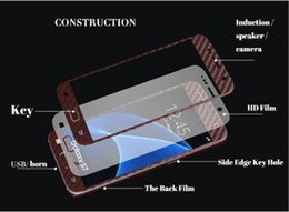 Wholesale 3d Iphone Skins - 3D Carbon Fiber Full Body Front Back Film Sticker Case Cover Wrap Skin For Samsung Galaxy S6 edge plus S7 For Iphone 6 6S Case 5pcs 10pcs