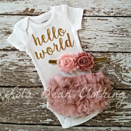 Wholesale Babies Wholesales Clothes - 2017 ins new arrivlas baby girl hello world letter print tomper+pp pants 2pcs outfits kids cotton clothes suit for 0-2T