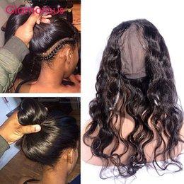 Wholesale Closure Cap - Glamorous Brazilian Virgin Hair Body Wave 360 Frontal Closure Peruvian Malaysian Indian Human Hair 360 Frontals Round Lace Closure with cap