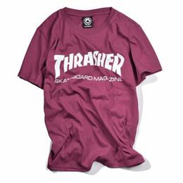 Wholesale Dry Printing - 2017 high quality Thrasher T Shirt Men women Skateboards Tee Short Sleeve Skate Tops Hip hop homme Man Trasher brand t shirts