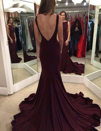 Wholesale One Shoulder Plum Chiffon - Vestido de festa 2017 Dark Plum Long Fitted Mermaid Prom Dresses Sexy Backless Jersey Cheap Party Dress Fast Shipping