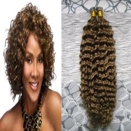 Wholesale Curly Hair Tips - #8 Light Brown Brazilian deep wave human hair keratin remy hair 100g strands brazilian virgin curly i tip hair