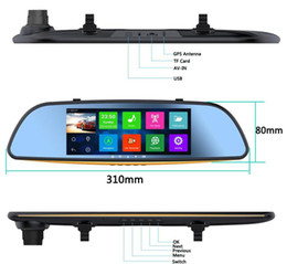 "Wholesale Mirror Rear Bluetooth Camera - 7"" 1080P Android 4.4 WIFI GPS Rear View Mirror Monitor Dash Car Camera DVR Bluetooth"