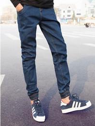 Wholesale Hot Pants Mans - Wholesale-HOT 2016 High Quality Men Harem pants Boys leg Navy Blue Denim Jeans Men's sweatpants elastic foot men Hip Hop Elastic Waist