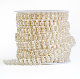 Wholesale Square Trim - 1 Spool Square Shape ABS Pearl Garland Cake Banding Trim Ribbon For Sewing Wedding Party Centerpiece Decoratio