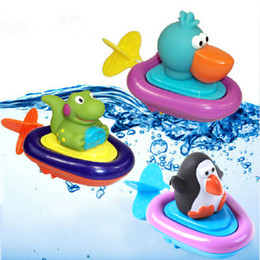 Wholesale Infant Bath Toys - Wholesale- Baby Bath Swimming Toy Ducks Penguin Crocodile Clockwork Play Swimming Toy for Kid Educational Toys Infant Cute Animal Bath Toy