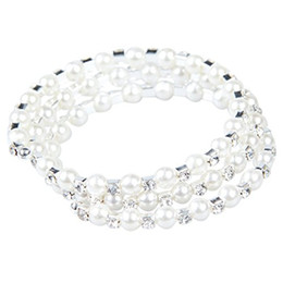 Wholesale Vintage Earring Bracelet - Clearbridal White Pearls Stretchy Vintage Prom Wedding Party Evening Bracelets Bridal Jewelry Accessories 15013