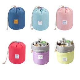 Wholesale Large Travel Wash Bag - New Korean elegant large capacity Barrel Shaped Nylon Wash Organizer Storage Travel Dresser Pouch Cosmetic Makeup Bag For Women